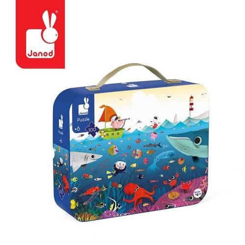 Janod - Puzzle w walizce Podwodny świat 100 elementów