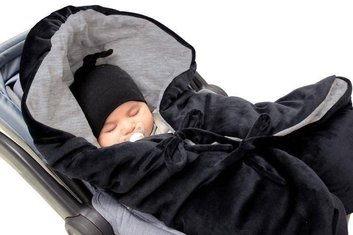 7AM - Śpiworek do wózka i fotelika samochodowego NIDO Velour Black - S