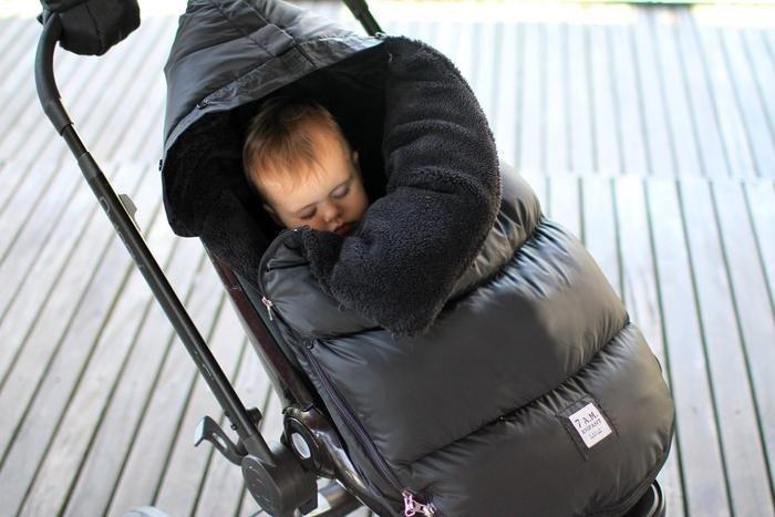 7AM - Śpiworek do wózka i fotelika samochodowego PlushPOD Black Plush S/M