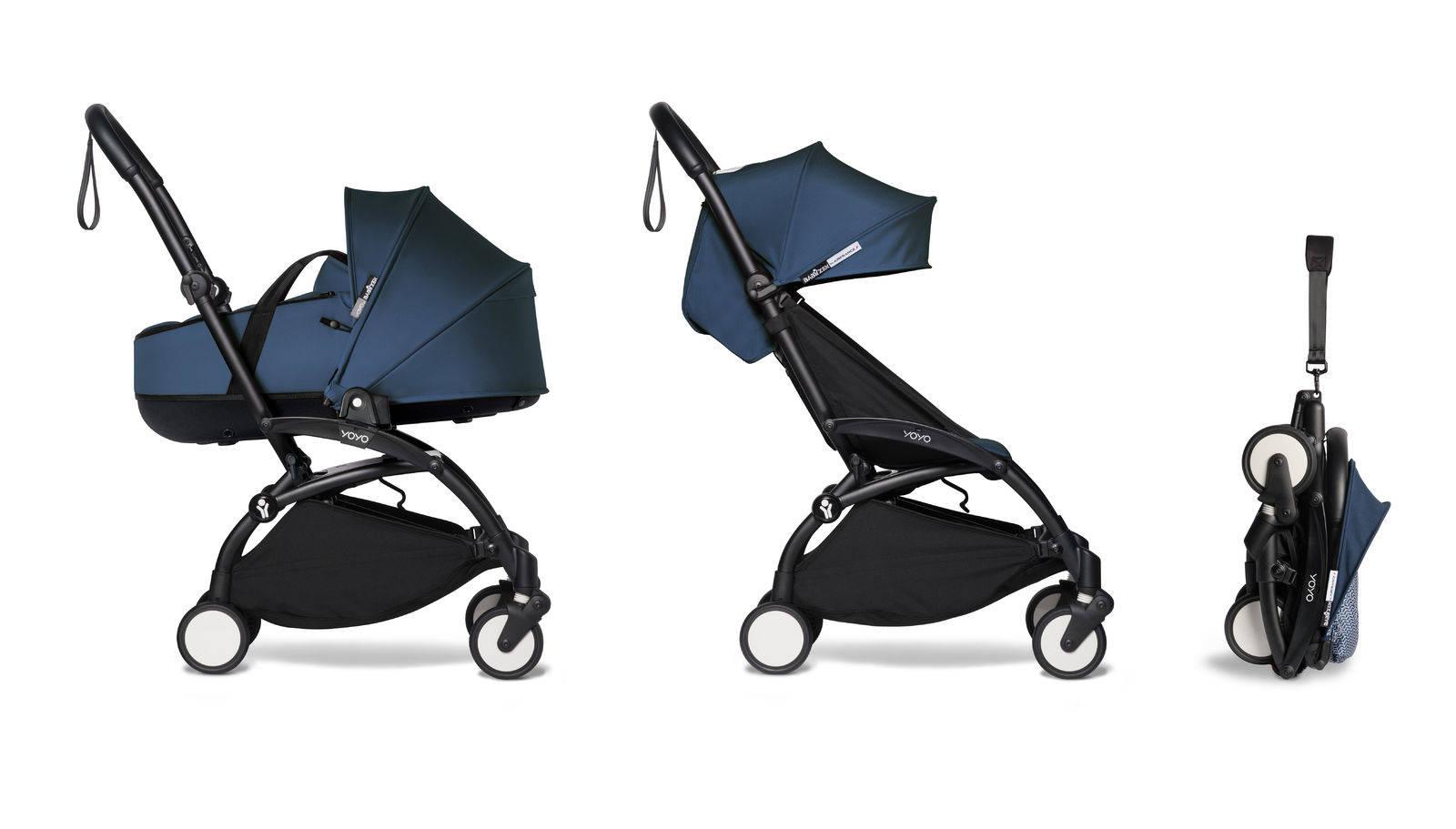 BABYZEN YOYO² - kompletny zestaw czarna rama/gondola Navy Blue/ tapicerka Air France Blue 6+