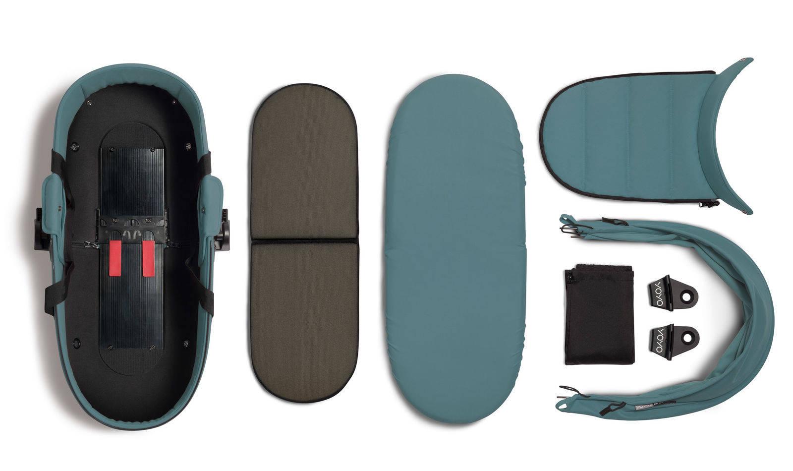 BABYZEN YOYO² - zestaw czarna rama + gondola - Aqua