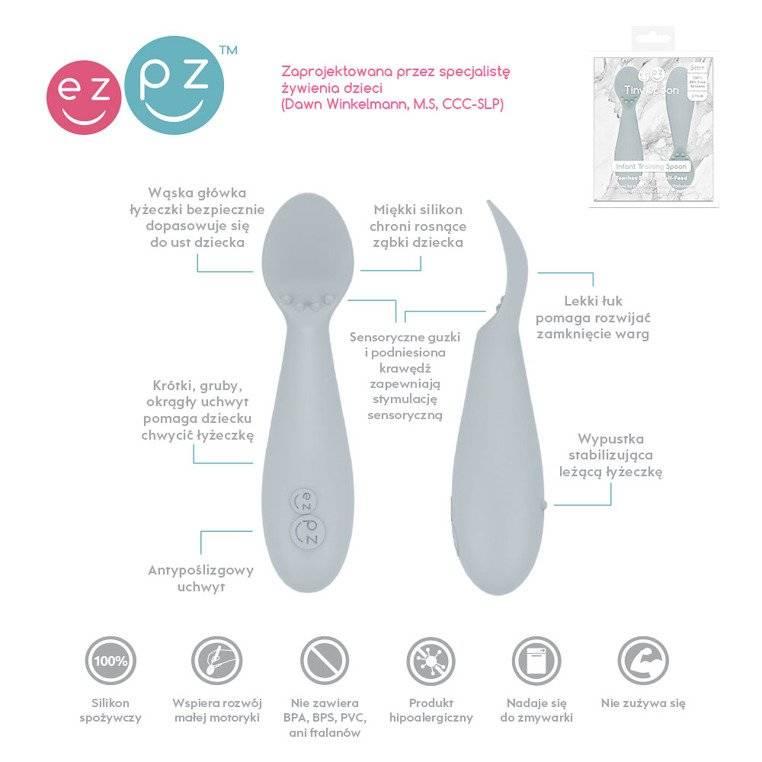 EZPZ - Silikonowa łyżeczka Tiny Spoon 2 szt., pastelowa szarość