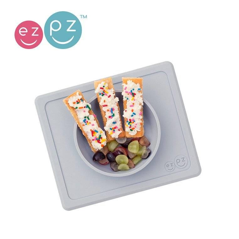 EZPZ - Silikonowa miseczka z podkładką 2w1 Mini Bowl pastelowa szarość