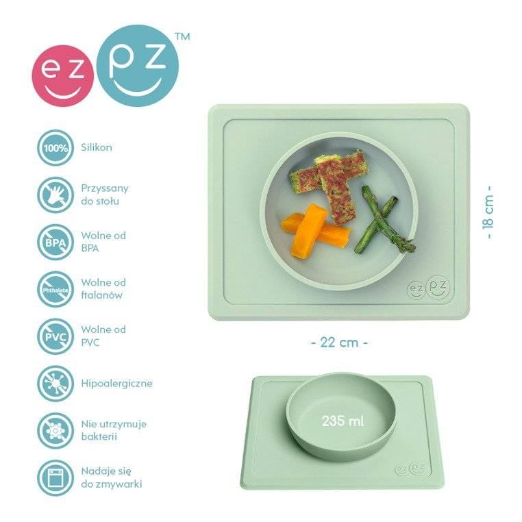EZPZ - Silikonowa miseczka z podkładką 2w1 Mini Bowl pastelowa zieleń