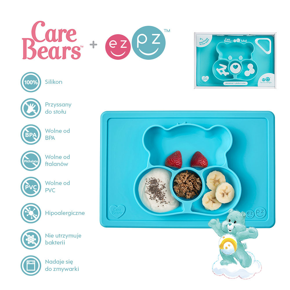 EZPZ - Silikonowy talerzyk z podkładką 2w1 Care Bears™ Mat Misia Życzliwe Serce Wish Bear, turkusowy