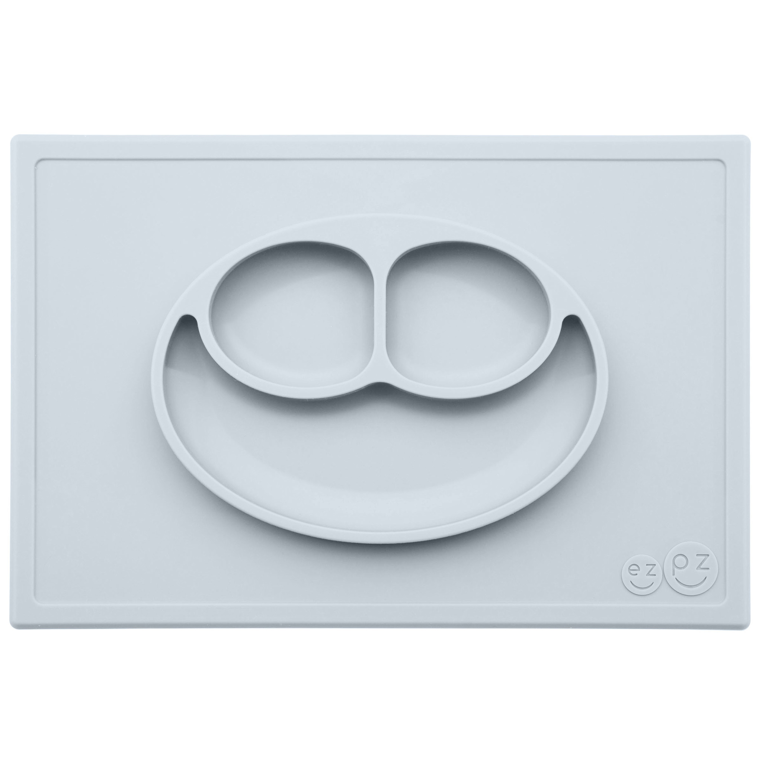 EZPZ - Silikonowy talerzyk z podkładką 2w1 Happy Mat pastelowa szarość