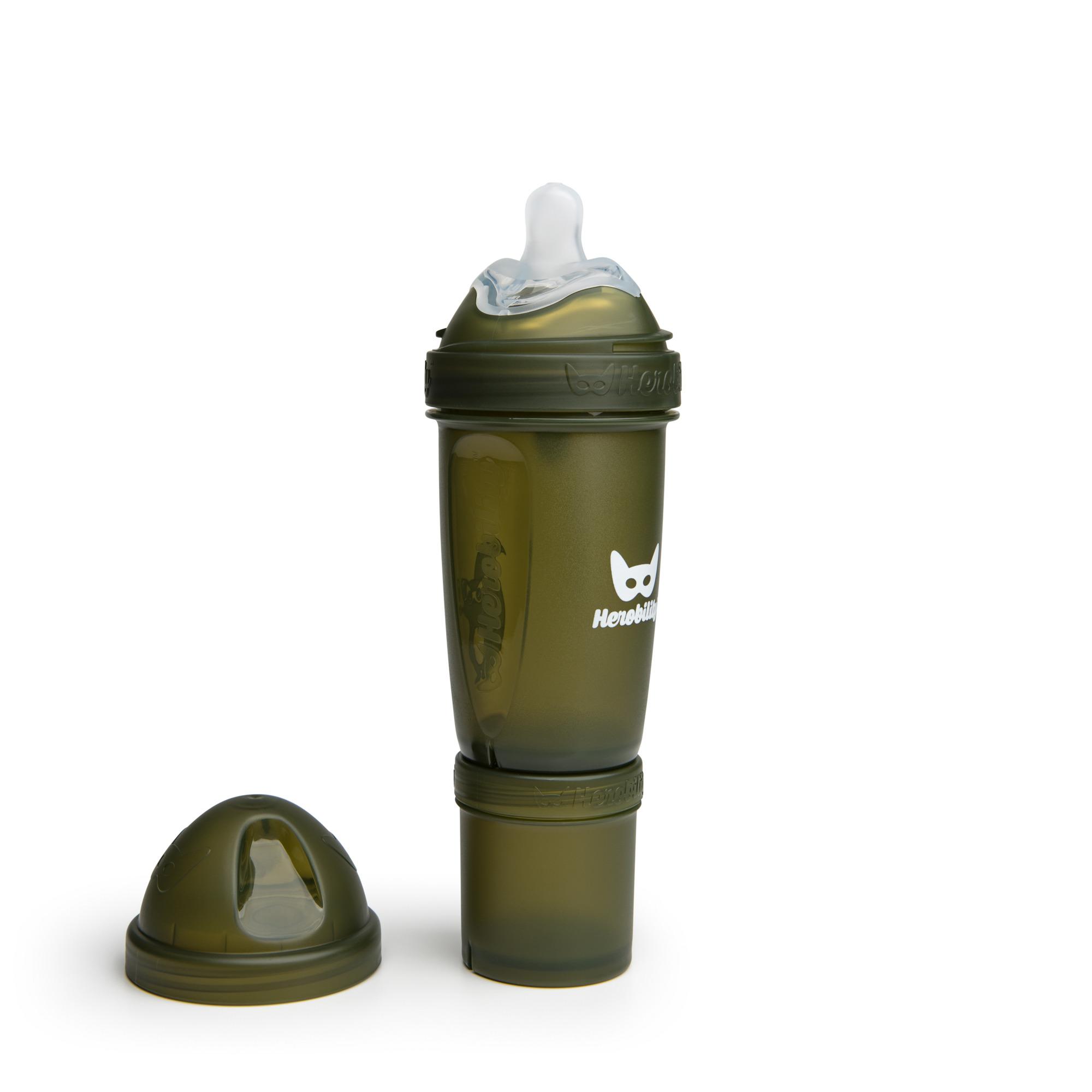 Herobility - butelka antykolkowa Herobottle 240 ml, ciemnozielony + smoczek M (2 m+)