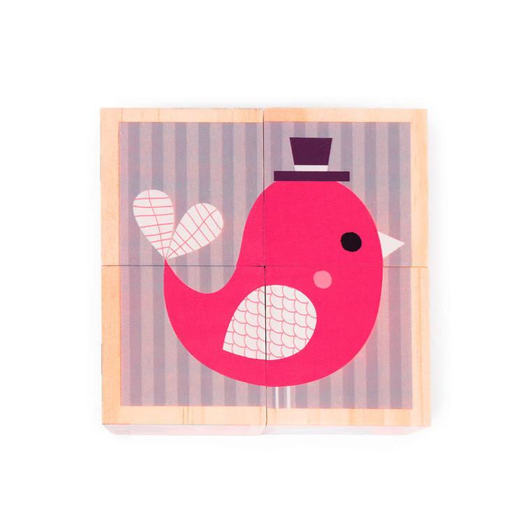 Janod - Klocki drewniane Puzzle 6w1 Zwierzęta