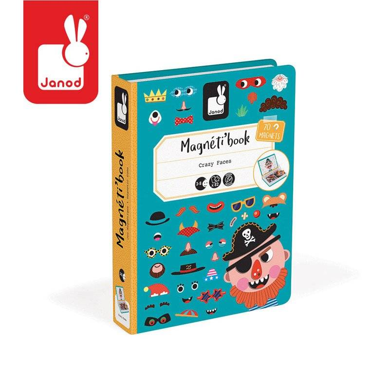 Janod – Magnetyczna układanka Śmieszne buzie Chłopiec Magnetibook kolekcja 2018