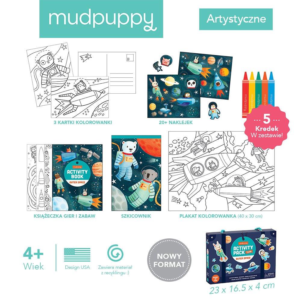 Mudpuppy - Zestaw kreatywny Naklejki, Malowanki, Łamigłówki z 5 kredkami Kosmos 4+