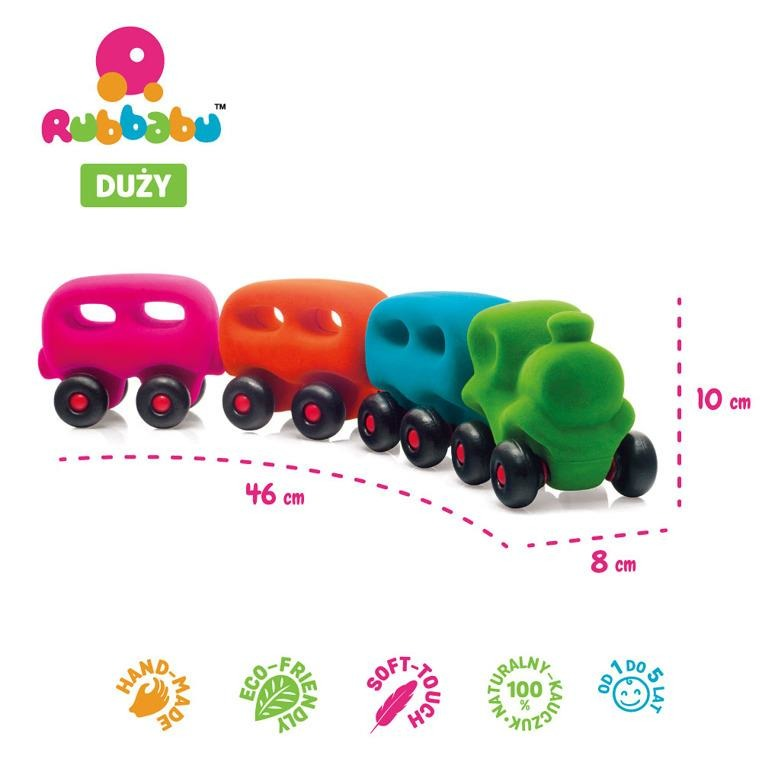 Rubbabu -  Pociąg z 3 magnetycznymi wagonami sensoryczny