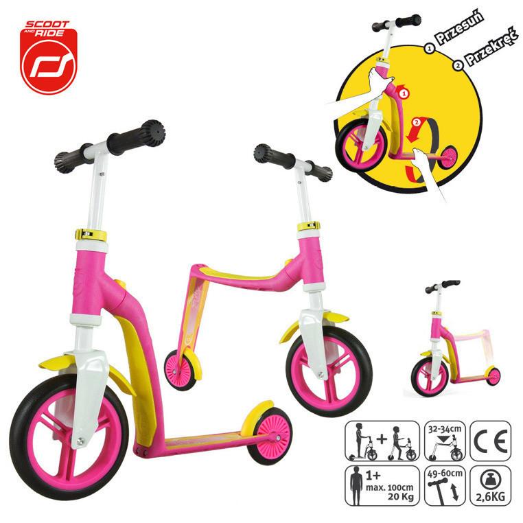 Scootandride - Highwaybaby 2w1 hulajnoga i rowerek 1+ Pink