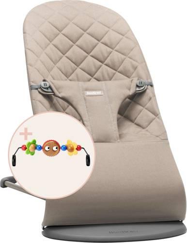 BABYBJORN - leżaczek BLISS - Piaskowy szary + zabawka do leżaczka BALANCE Googly Eyes