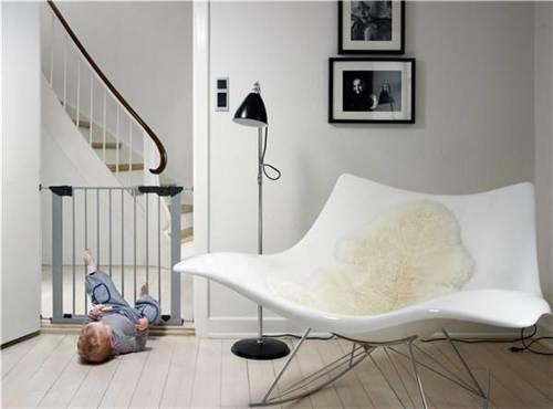 Baby Dan - Bramka ochronna PREMIER + 2 rozszerzenia, srebrny