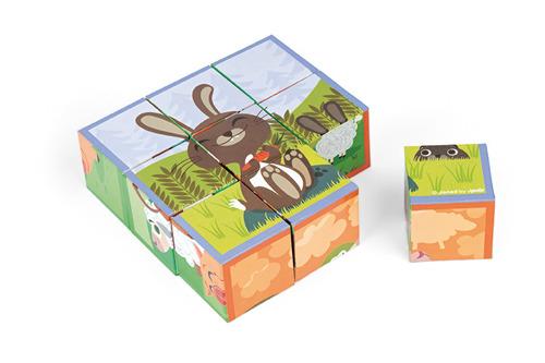 Janod - Klocki puzzle 6w1 Farma