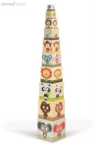 Janod - Piramida wieża 10 kostek Zwierzęta