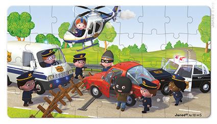 Janod - Puzzle 2w1 Radiowóz policjanta Pawła