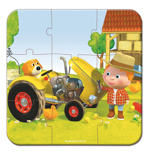Janod - Puzzle 4w1 Traktor Tadka