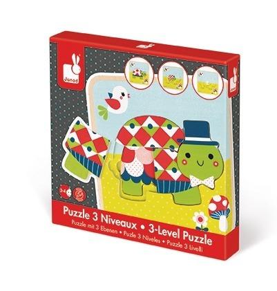 Janod - Puzzle drewniane 3-warstwowe Żółwie