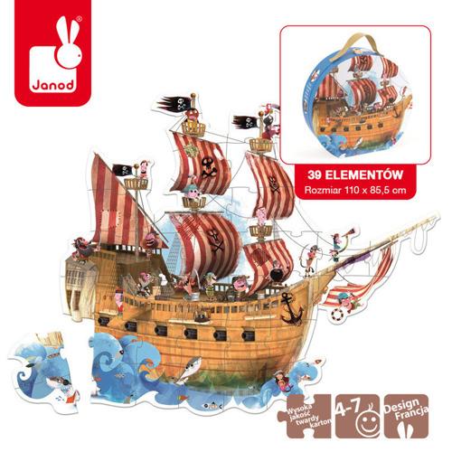 Janod - Puzzle podłogowe w walizce Statek Piracki 39 elementów