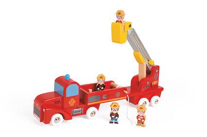 Janod - Straż pożarna drewniana duża z 4 postaciami