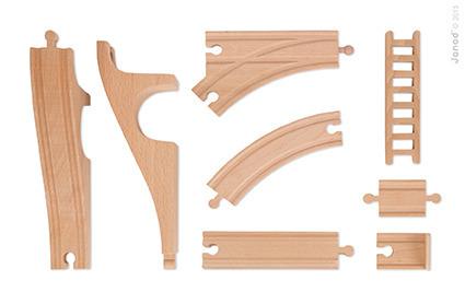 Janod - Straż pożarna kolejka drewniana zestaw 52 części