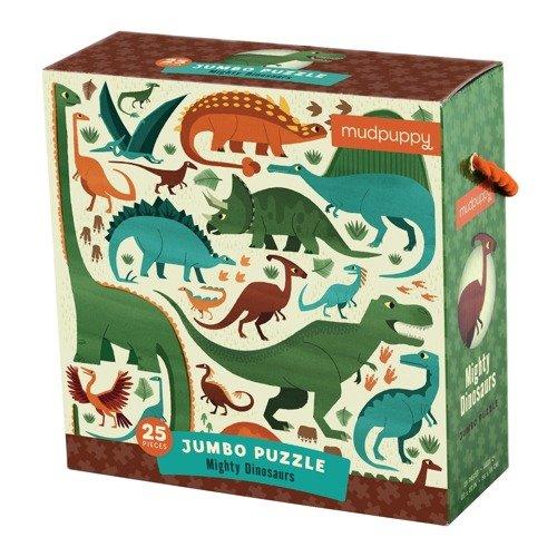 Mudpuppy - Puzzle podłogowe Jumbo Potężne dinozaury 25 elementów 2+