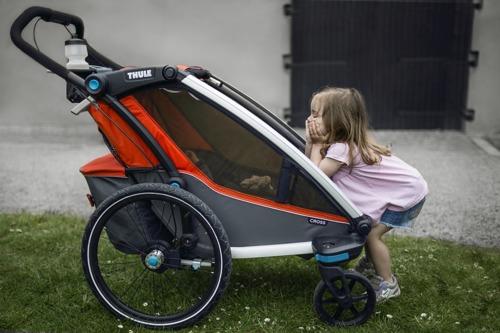 Przyczepka rowerowa dla dziecka - THULE Chariot Cross 1 - czerwona/szara