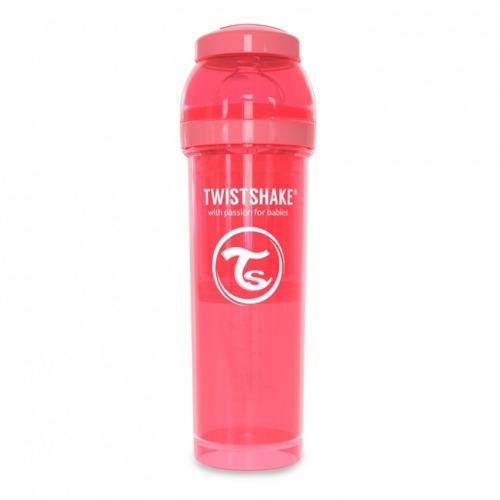Twistshake - Antykolkowa butelka do karmienia, brzoskwiniowa 330ml